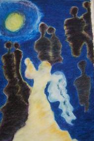 """Titel nieuw werk: """"In Silence, Though Never Apart """". Oliepastelkrijt.. 54 x 36 cm (c) Madeleine Oppelaar'. 30 – 8 – 2014. Tijd close: 13:33 uur. Verboden te kopiëren zonder toestemming. Dank. Met beeldende groet, Madeleine."""